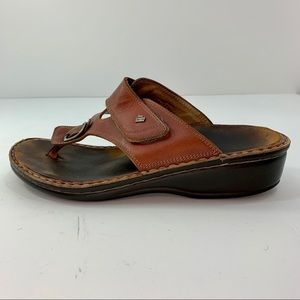 Finn Comfort Brown Leather Thong Sandals Size 9